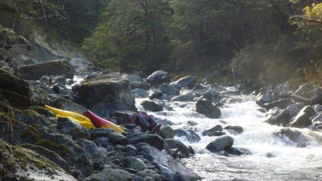 bush welding- kayak repairs , upper gorge